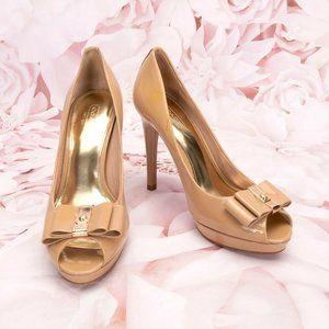 Coach Starla Peep Toe Pumps Heels Shoes W/Bow